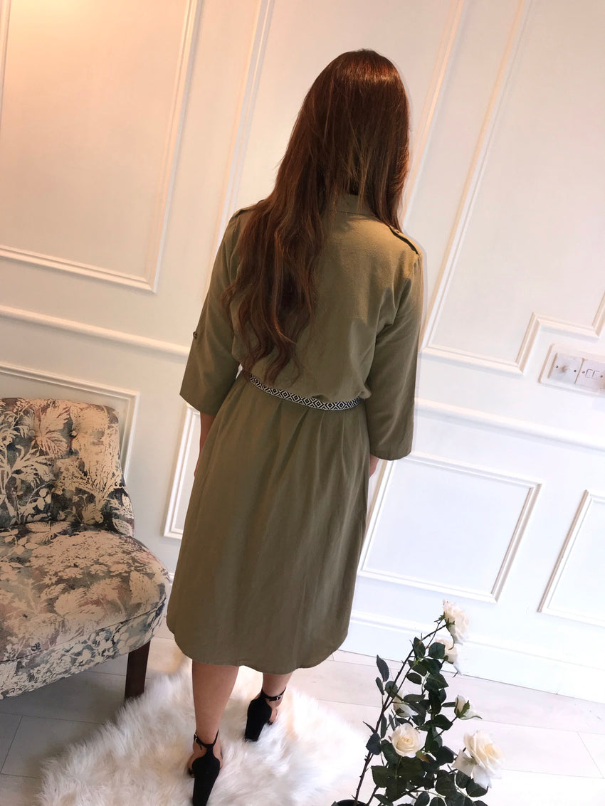 Khaki Belted Dress
