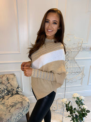 *Pre-Order* Simone Striped Asymmetric Jumper Camel