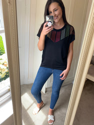 Sarah Black Sequin Tee