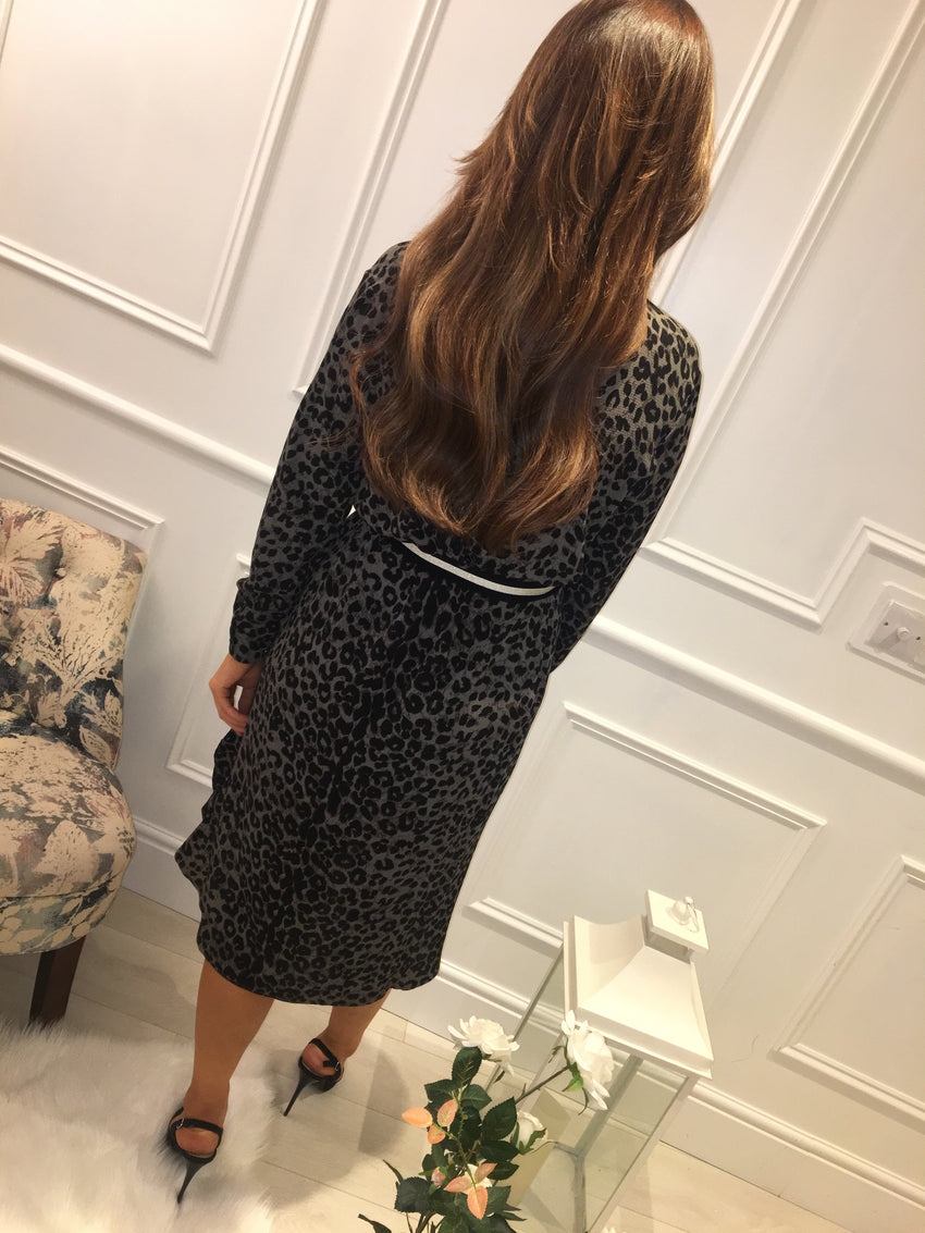 Grey Leopard print belted dress