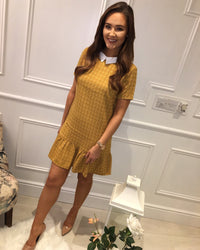 Mustard print collared dresd