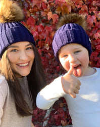 Faye Navy Kids Pom Pom Faux Fur Hat