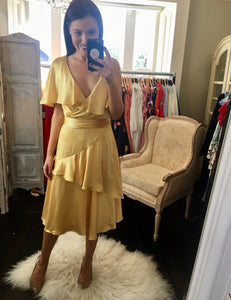 Silk effect Gold Tea Dress