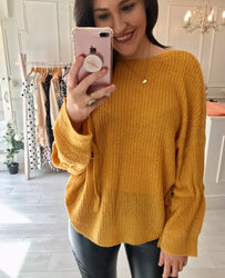 Mustard soft knit tie jumper