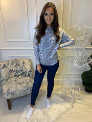Lilli Grey Leopard Print Stretch Jumper