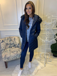 Carly Navy Puffa Coat