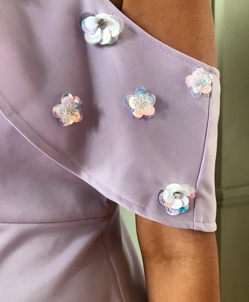 Lavender Flower Detail Dress