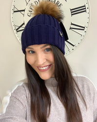 Allie Navy Adult Original Pom Pom Hat