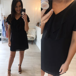 Black Frill Shift Dress