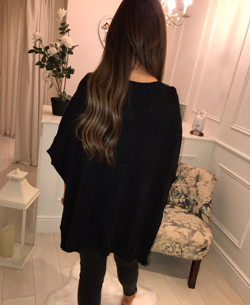 Black Diamanté Pom Pom Cape