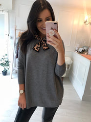 Grey Jumper with Leopard Detail Tie