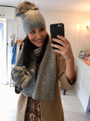 Grey Scarf,Glove & Hat Set