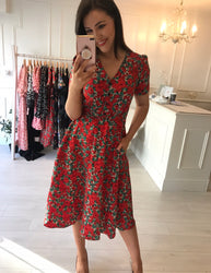 Avril Zianna Red Midi Dress