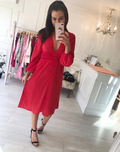 Red Shirred Button Tea Dress