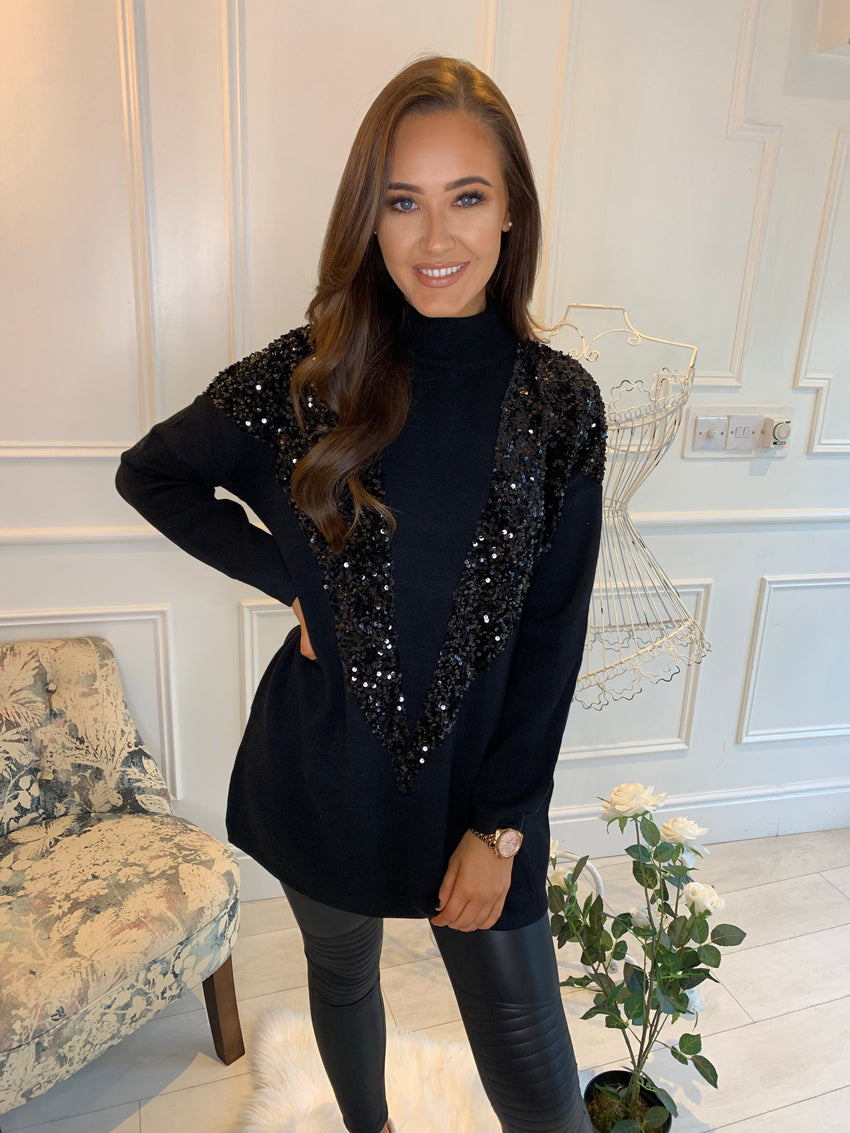 Keeva Sequin V Panel Jumper Black