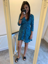 TEAGAN MINI DRESS IN TURQUOISE LEOPARD