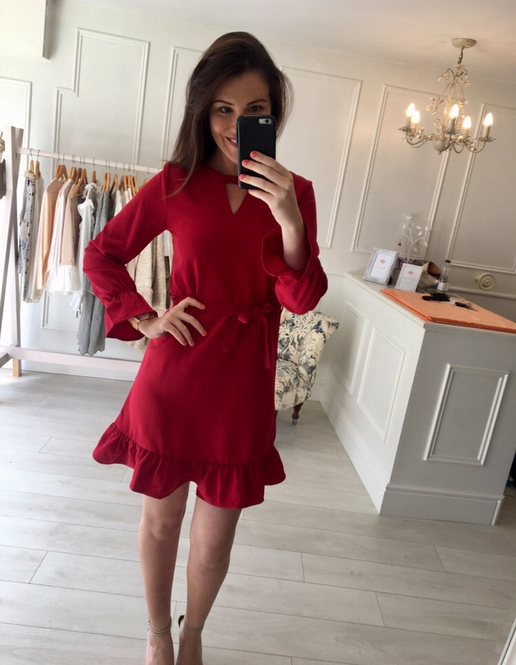 Red Frill Detail Dress