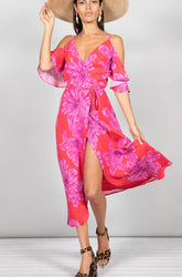Chrissy Pink Floral Dancing Leopard Dress