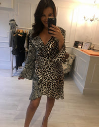 Zebra & Cheetah Clash Print Dress