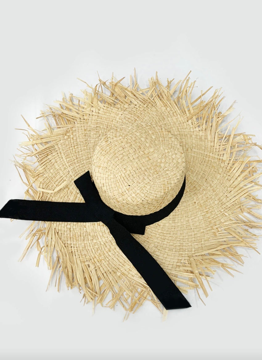 Frayed Banded Sun Hat