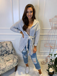 Gracie Grey Belted Cable Cardi