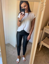 Pippa Black Leather Look Leggings