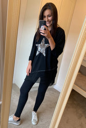 Black Sequin Star Layer Top
