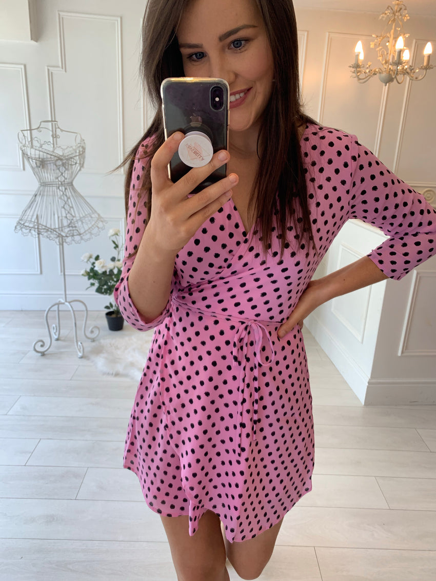 TEAGAN MINI DRESS IN PINK DOTTY