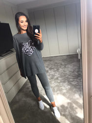 Grey Sequin Heart Oversized Lounge Set