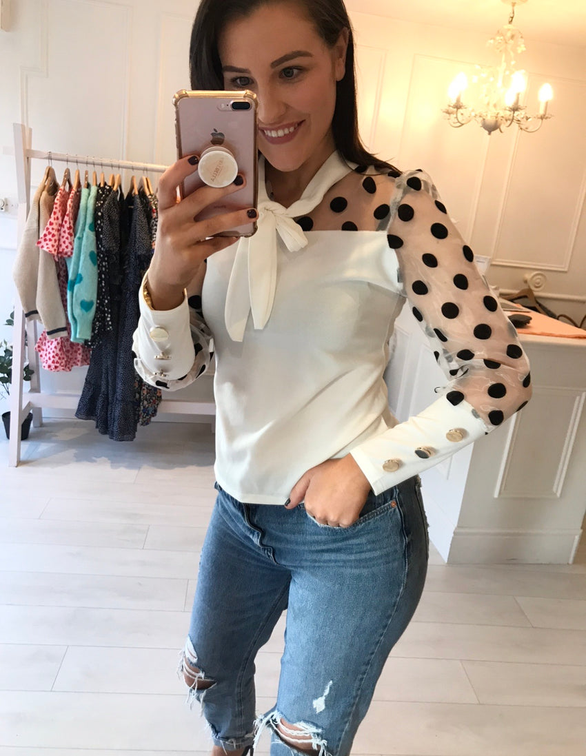 Black & White Polka Organza Top