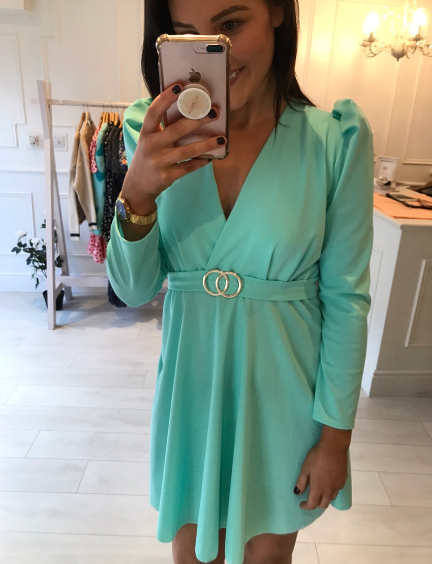 Teal Gold Detail Dress