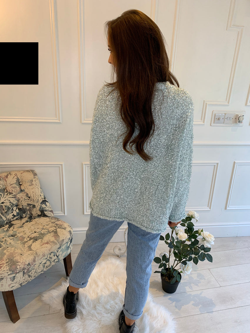 Alia Glitter Tweed Mint Jumper