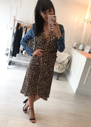 Yondal Dress Dancing Leopard & Blue Floral