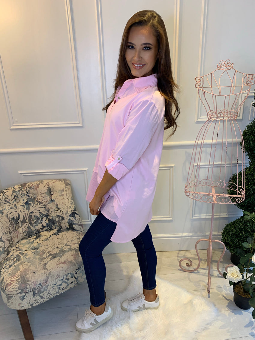 Bethany Long Shirt With Knit Pullover Blush