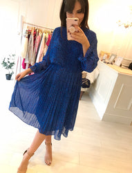 Ouifa Blue Honeysuckle Pleat Dress