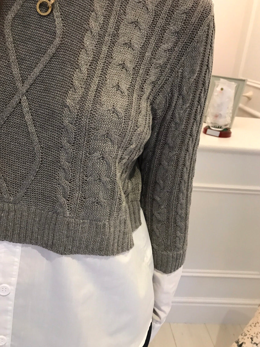 Grey Layered Cable Knit Jumper