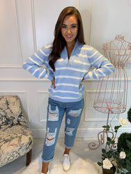 Maria Stripe Blue Half Zip Jumper