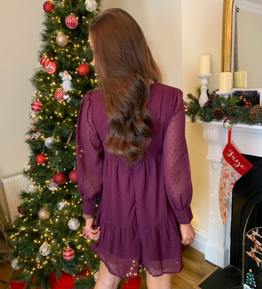 Bree Burgundy V Neck Smock Dress