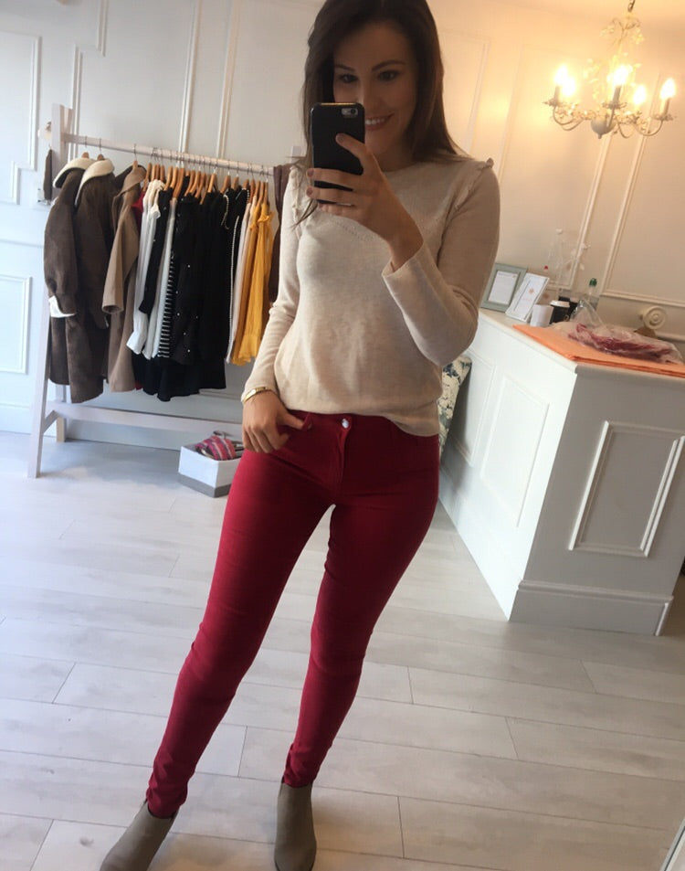 Burgundy soft touch Jean