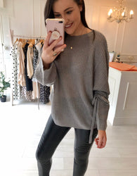 Grey soft knit tie jumper