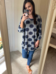 Julietta Oversize Grey Polka Dot Top