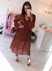Rust Spot Belted Midi Dress