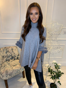 Ivy Faux Fur Jumper Grey