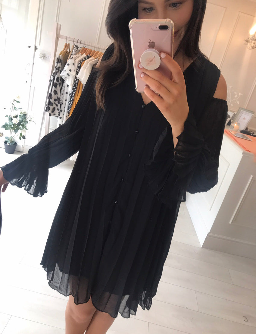 Black Pleat Detail Dress/Tunic