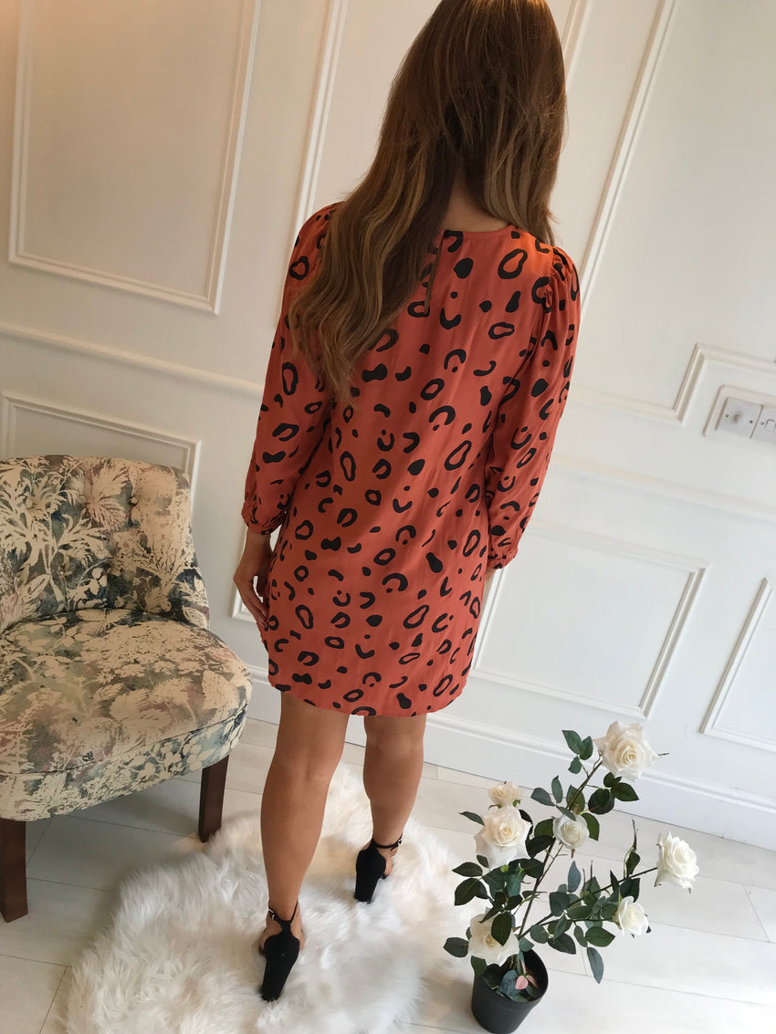 Burnt Orange Print Shift Dress