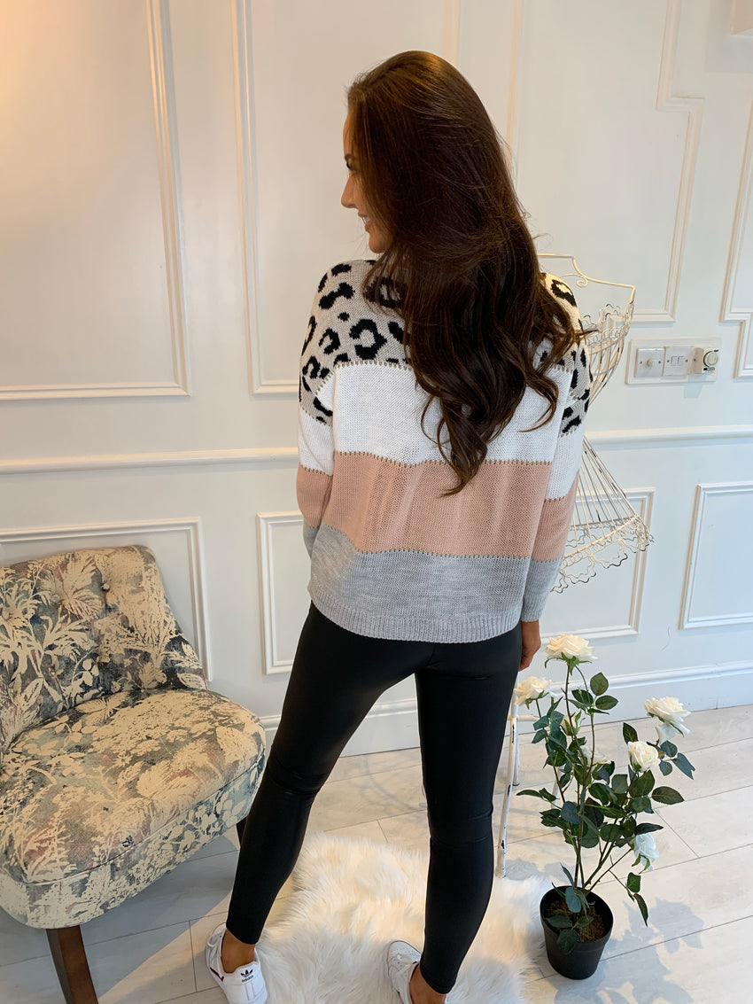 Lee Leopard Stripe Knit Pink
