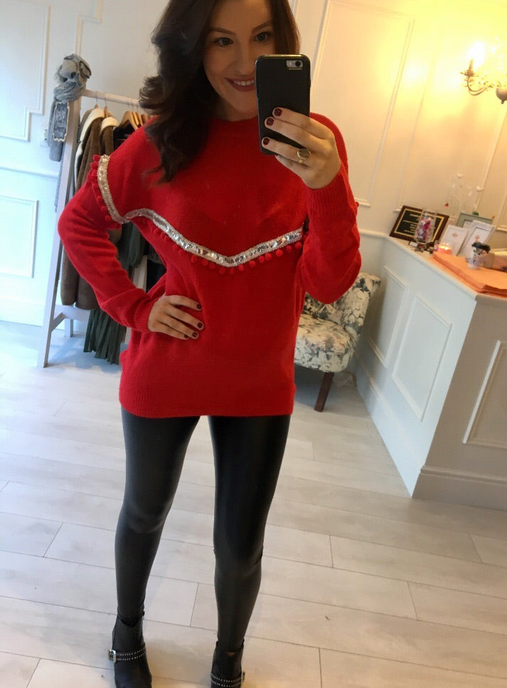 Red sequin & bauble knit
