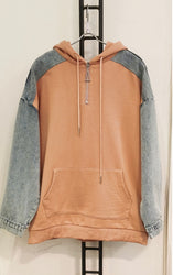 Tilly Salmon Denim Detail Hoodie