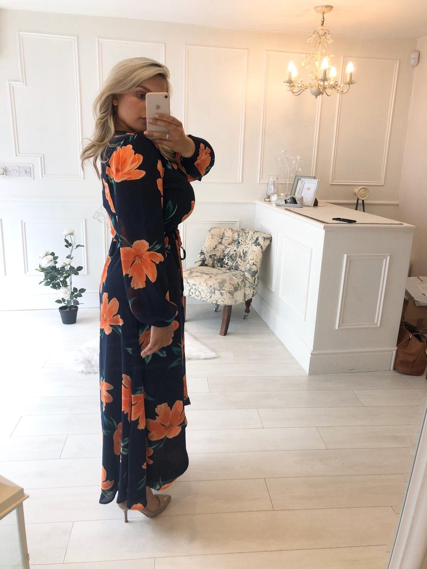 JAGGER MAXI DRESS IN ORANGE ON NAVY BLUE TULIP - Dancing Leopard
