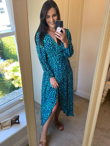 JAGGER MAXI DRESS IN TURQUOISE LEOPARD -Dancing Leopard
